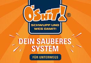 O´Shit - Dein sauberes System für unterwegs - Kotbeutel entsorgen