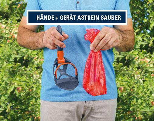 Innovative Kotschaufel, Pocket-Scoopy, Hände und Gerät bleiben sauber, ideal für den Gassigang