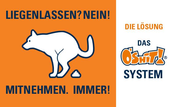 Hundekot-Entsorgung beim Gassi gehen leicht gemacht – O'SHiT! SYSTEM gehört zur Grundausstattung eines jeden Hundebesitzers.
