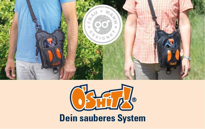 Hundekot-Entsorgung beim Gassi gehen mit dem O'SHiT! SYSTEM für Mann und Frau geeignet.
